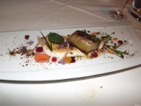 Seared Foie Gras with toasted peach marshmallow and bourbon baked graham cracker crumbs