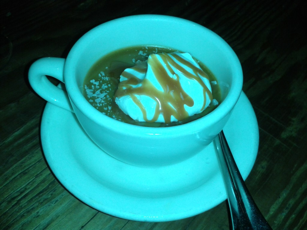 Butterscotch pot de creme, their signature dessert